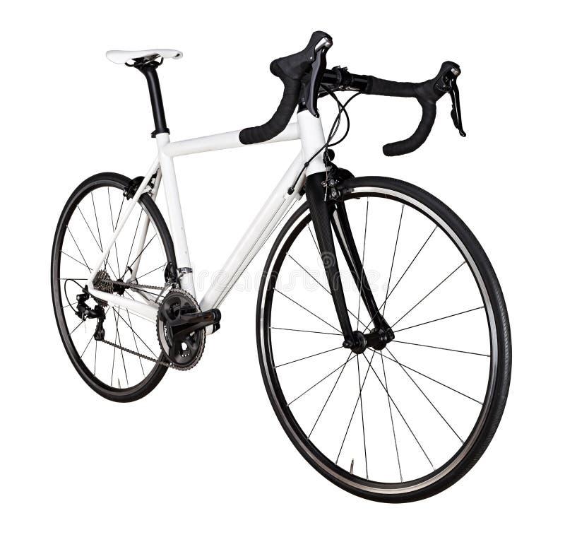 de witte zwarte rennende geïsoleerde raceauto van de de fietsfiets van de sportweg stock afbeelding