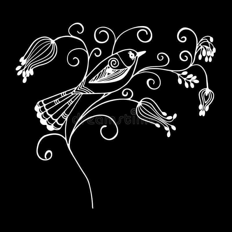 De witte zwarte van het het ornamentpatroon van vogelbloemen vectorillustratie eps10 royalty-vrije illustratie