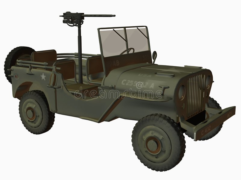De WO.II-V.S. Jeep royalty-vrije illustratie