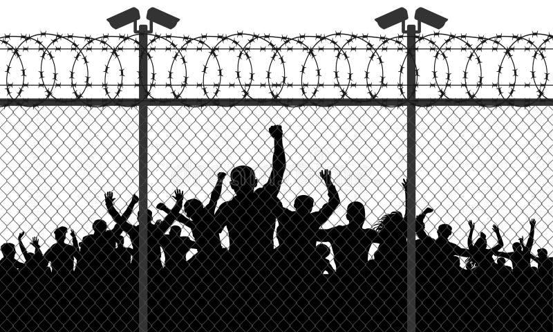 De woedend gemaakte menigte van mensen is achter de tralies vector illustratie