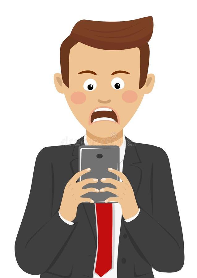 De woedende zakenman heeft slecht nieuws op mobiele slimme telefoon ontvangen vector illustratie