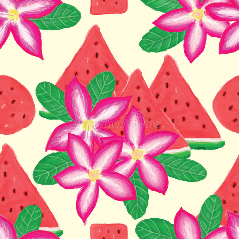 De woestijn nam watermeloen naadloos patroon toe vector illustratie