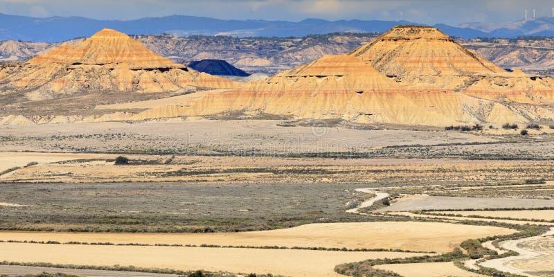 De woestijn van Bardenasreales in Spanje stock foto's