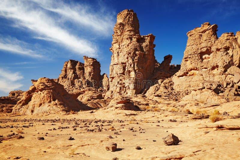 De Woestijn van de Sahara, Tassili N'Ajjer, Algerije royalty-vrije stock foto's