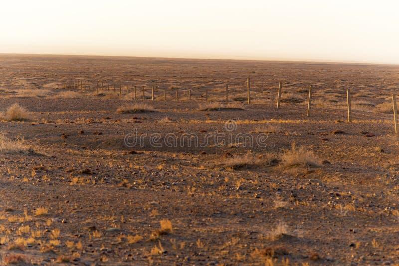 De woestijn van Gobi op de omheining, in de zonsopgang stock fotografie