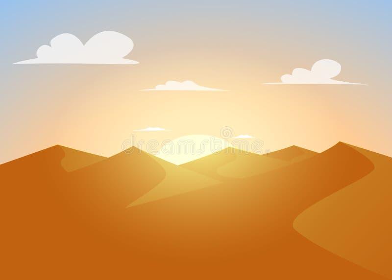 De woestijn van Judean Duinen met zonsondergang vector illustratie