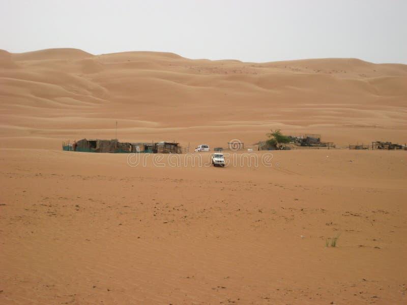 De woestijn van Oman bij zonsondergang in de Wahiba-zandwoestijn stock foto's