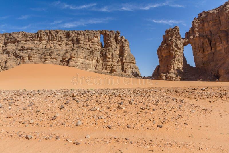 De Woestijn van de Sahara Sahara??landschap ?? ??s Tassili Nâ? ??? ??Ajjer, Zuid-Algerije stock foto