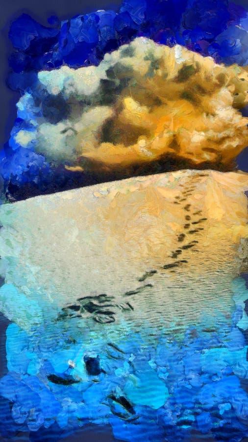De Woestijn van voetstappen het Schilderen stock illustratie