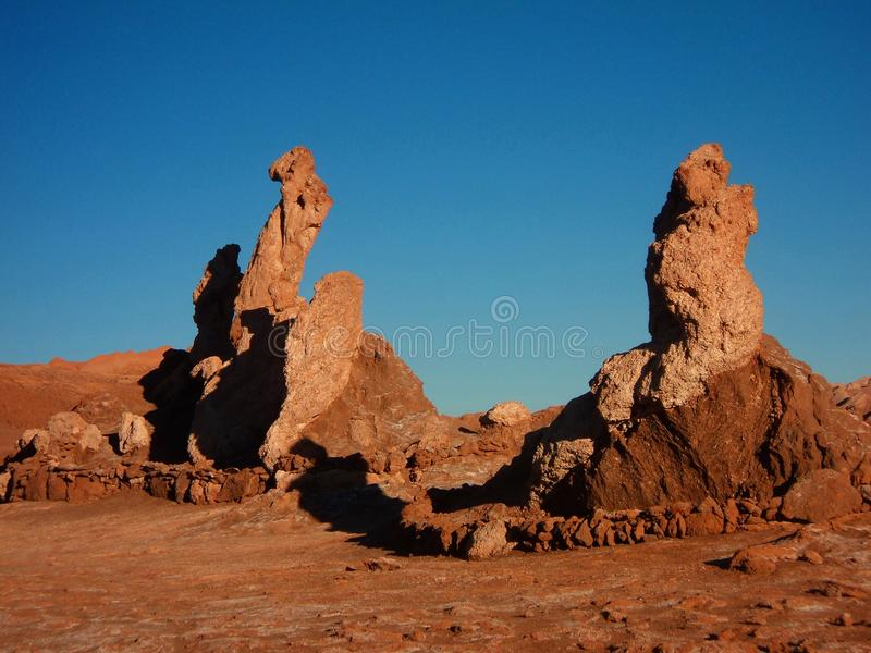 De woestijnpanorama Chili San Pedro de Atacama van bergheuvels stock foto's