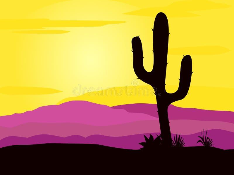 De woestijnzonsondergang van Mexico met het silhouet van cactusinstallaties stock illustratie
