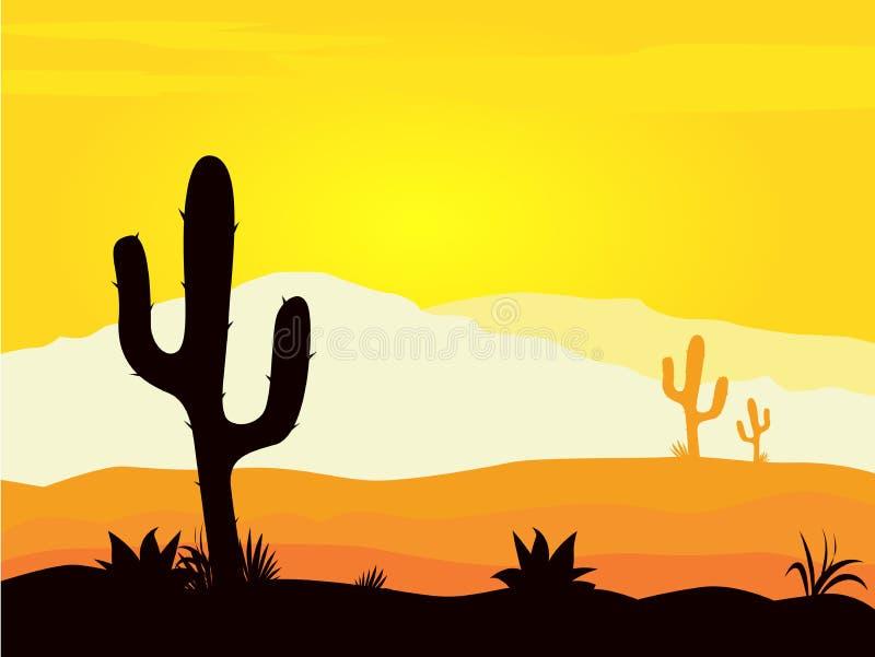 De woestijnzonsondergang van Mexico met het silhouet van cactusinstallaties royalty-vrije illustratie
