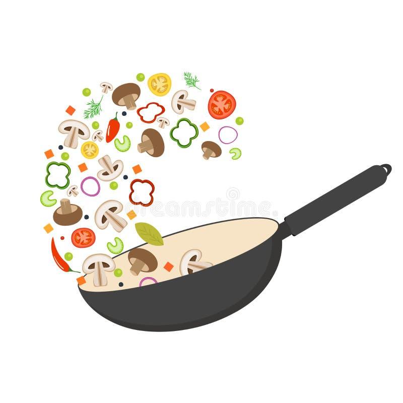 De wokpan, tomaat, paprika, peper, shiitake schiet en wortelen als paddestoelen uit de grond Aziatisch Voedsel Verse vliegende gr stock illustratie