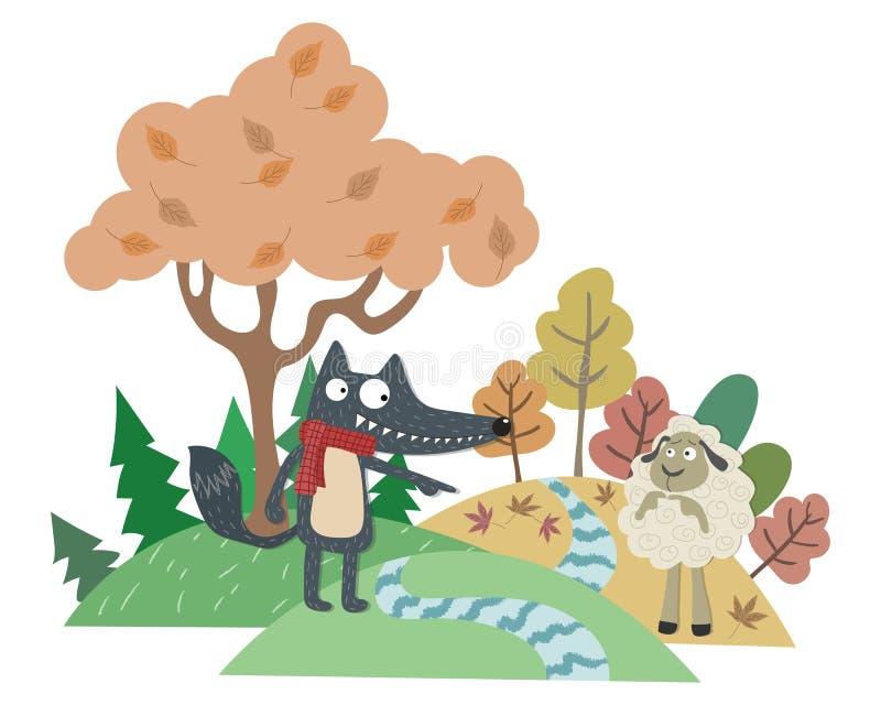 De Wolf en het Lam stock illustratie