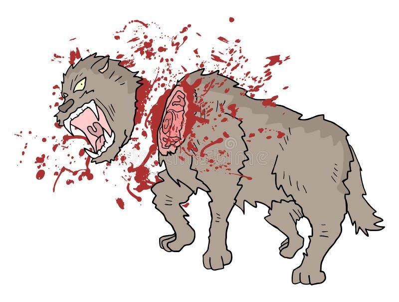 De wolfsillustratie van het dodengevaar royalty-vrije illustratie