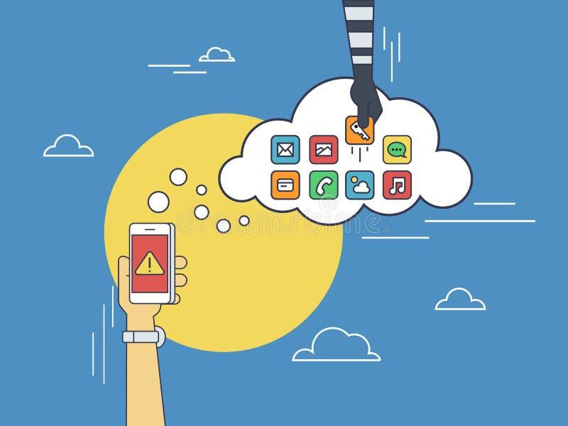 De wolk die de vlakke illustratie van de lijncontour van menselijke hand binnendringen in een beveiligd computersysteem trekt con vector illustratie