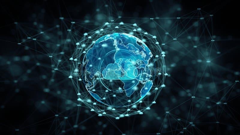 De Wolk die van de Cyberveiligheid groot gegevensonline opslagruimte en van de Beschermingstechnologie netwerk en dataverbindingc stock illustratie