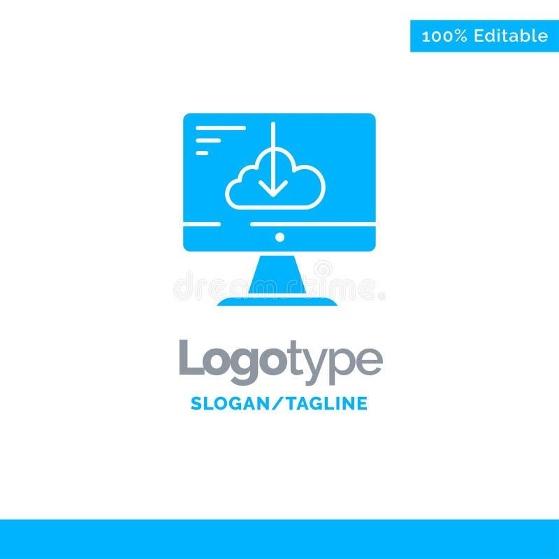 De wolk, Download, Bestuurder, installeert, Installatie Blauw Stevig Logo Template Plaats voor Tagline royalty-vrije illustratie
