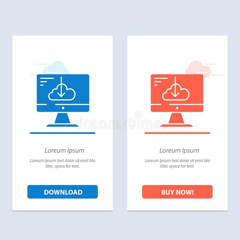 De wolk, Download, Bestuurder, installeert, Installatie Blauwe en Rode Download en koopt nu de Kaartmalplaatje van Webwidget royalty-vrije illustratie