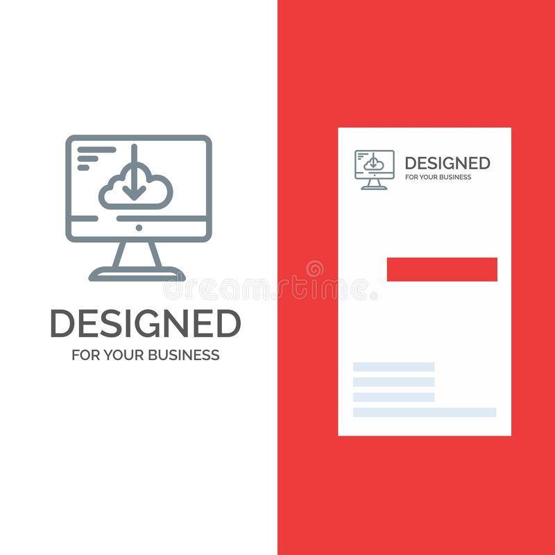 De wolk, Download, Bestuurder, installeert, Installatie Grey Logo Design en Visitekaartjemalplaatje stock illustratie