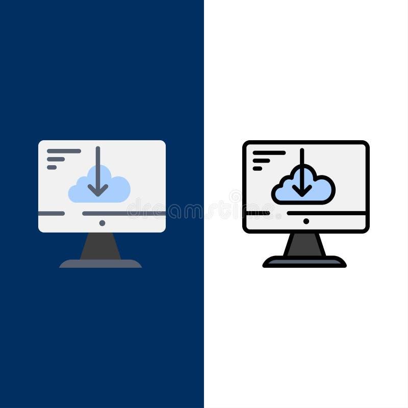 De wolk, Download, Bestuurder, installeert, Installatiepictogrammen Vlak en Lijn vulde Pictogram Vastgestelde Vector Blauwe Achte stock illustratie