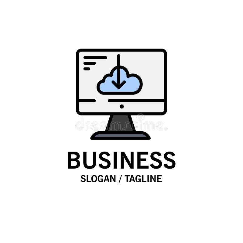 De wolk, Download, Bestuurder, installeert, Installatiezaken Logo Template vlakke kleur royalty-vrije illustratie