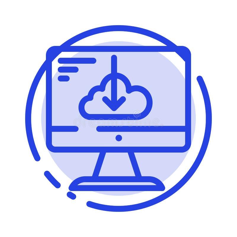 De wolk, Download, Bestuurder, installeert, de Lijnpictogram van de Installatie Blauw Gestippelde Lijn vector illustratie