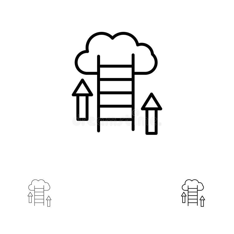De wolk, Download, uploadt, Gegevens, het pictogramreeks van de Server Gewaagde en dunne zwarte lijn vector illustratie