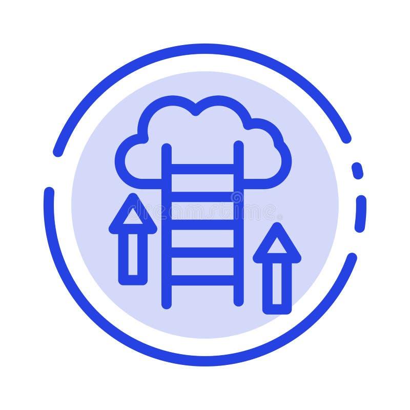 De wolk, Download, uploadt, Gegevens, de Lijnpictogram van de Server Blauw Gestippelde Lijn royalty-vrije illustratie