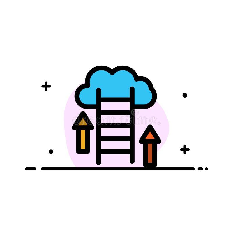 De wolk, Download, uploadt, Gegevens, Malplaatje Server van de Bedrijfs het Vlakke Lijn Gevulde Pictogram Vectorbanner stock illustratie