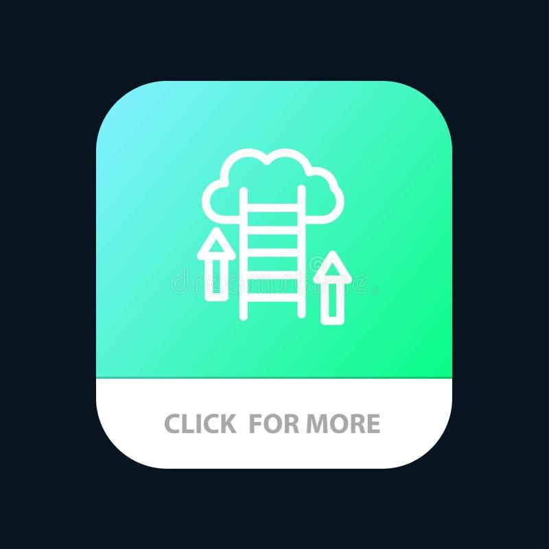 De wolk, Download, uploadt, Gegevens, Server Mobileapp Knoop Android en IOS Lijnversie stock illustratie