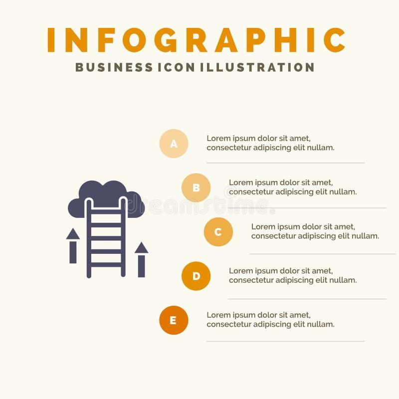 De wolk, Download, uploadt, Gegevens, Server Stevig Pictogram Infographics 5 de Achtergrond van de Stappenpresentatie stock illustratie