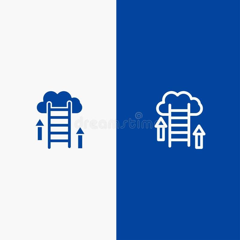 De wolk, Download, uploadt, Gegevens, Serverlijn en Lijn van de het pictogram Blauwe banner van Glyph de Stevige en Stevige het p vector illustratie