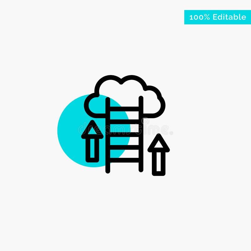 De wolk, Download, uploadt, Gegevens, van het de cirkelpunt van het Server het turkooise hoogtepunt Vectorpictogram royalty-vrije illustratie