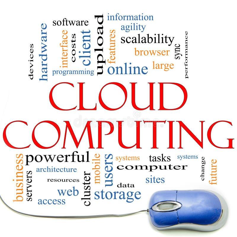 De Wolk en de Muis van Word van de Gegevensverwerking van de wolk stock illustratie
