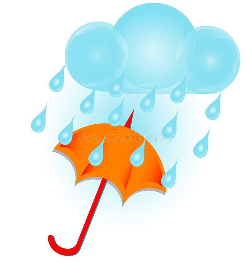 De wolk en de paraplu van de regen royalty-vrije illustratie