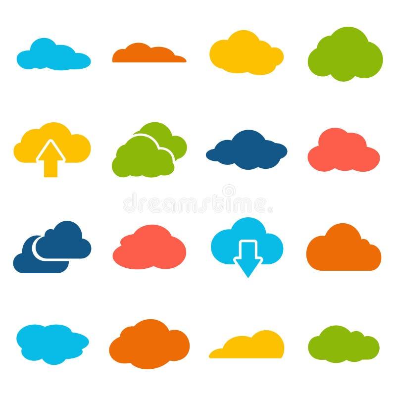 De wolk geeft vectorinzameling gestalte stock illustratie