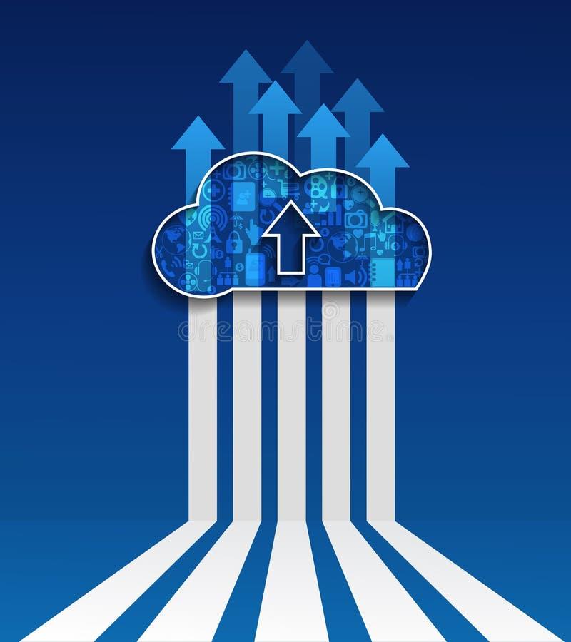 De wolk gegevens ver*werken-uploadt wolken sociaal netwerk stock illustratie