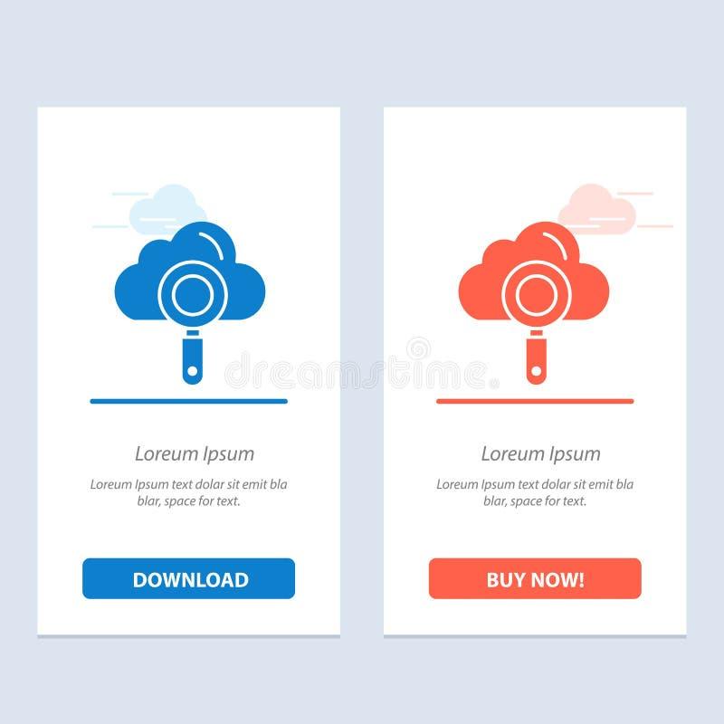 De wolk, Gegevensverwerking, Zoeken, vindt Blauwe en Rode Download en koopt nu de Kaartmalplaatje van Webwidget vector illustratie