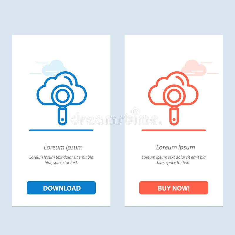 De wolk, Gegevensverwerking, Zoeken, vindt Blauwe en Rode Download en koopt nu de Kaartmalplaatje van Webwidget stock illustratie