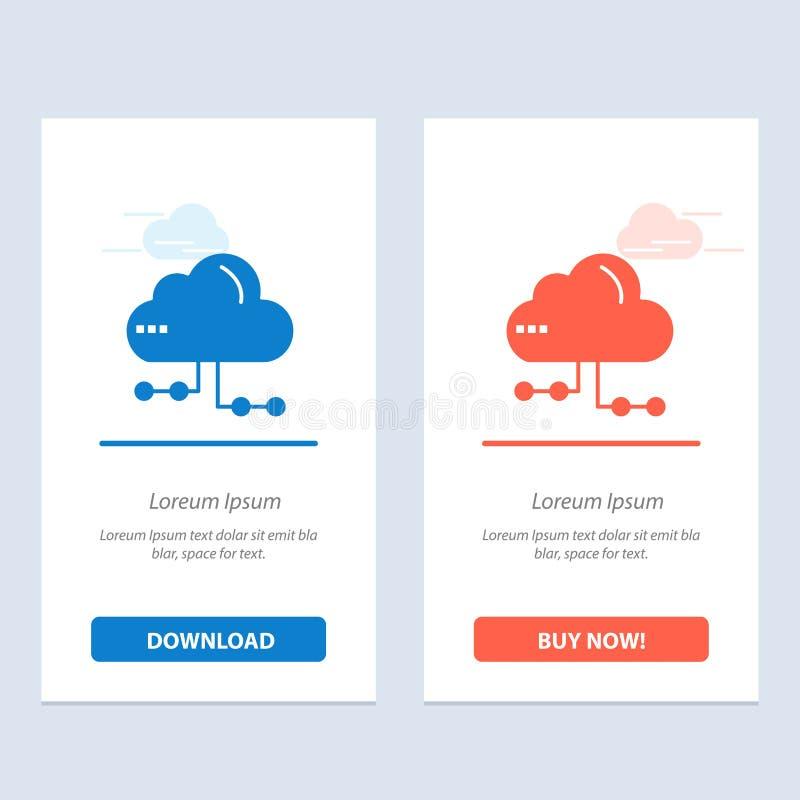 De wolk, het Aandeel, de Gegevensverwerking, de Netwerk Blauwe en Rode Download en kopen nu de Kaartmalplaatje van Webwidget royalty-vrije illustratie