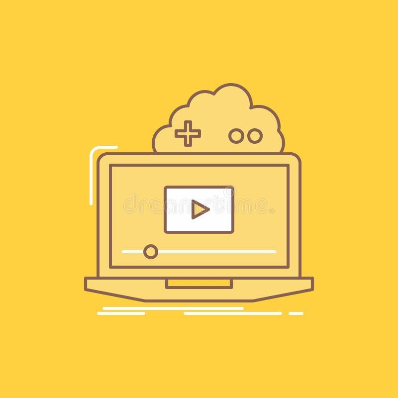 De wolk, spel, online, stromende, video Vlakke Lijn vulde Pictogram Mooie Embleemknoop over gele achtergrond voor UI en UX, websi stock illustratie