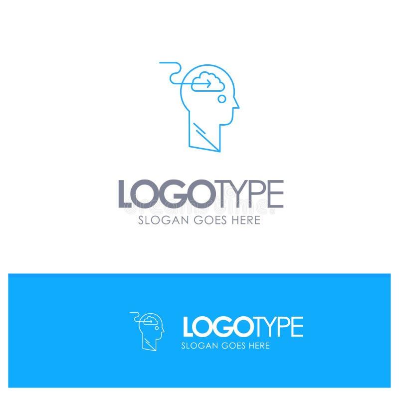 De wolk, Update, Download, uploadt, Embleem van het Gebruikers het Blauwe overzicht met plaats voor tagline royalty-vrije illustratie