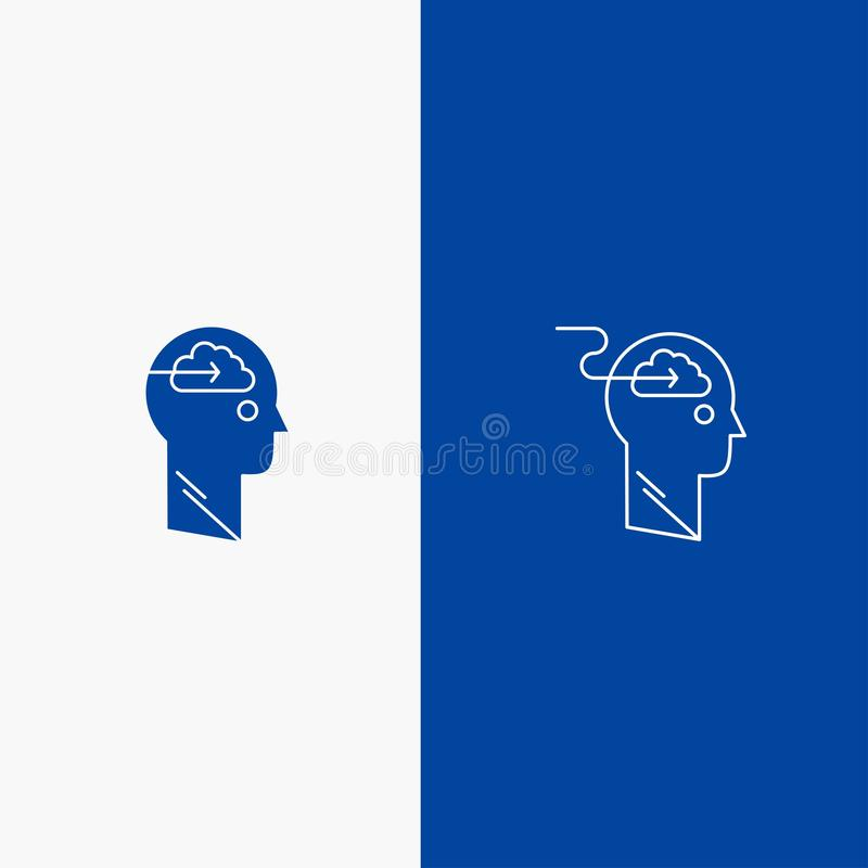 De wolk, Update, Download, uploadt, Gebruikerslijn en Lijn van de het pictogram Blauwe banner van Glyph de Stevige en Stevige het vector illustratie