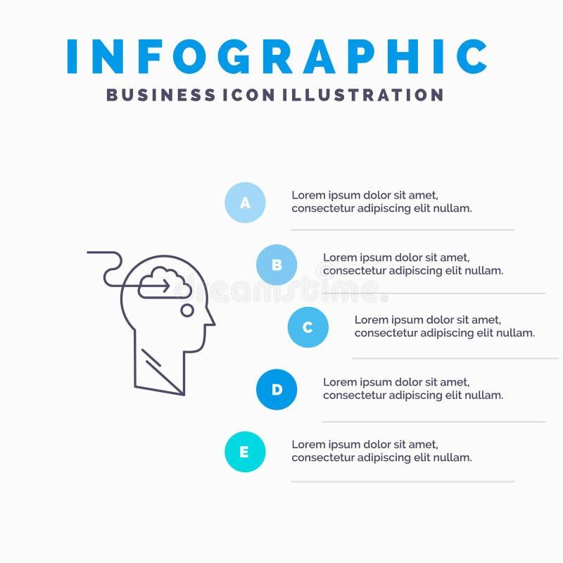 De wolk, Update, Download, uploadt, het pictogram van de Gebruikerslijn met infographicsachtergrond van de 5 stappenpresentatie stock illustratie