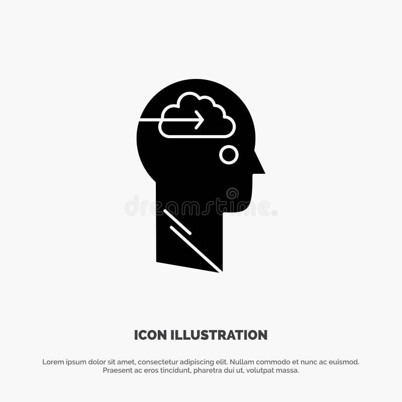 De wolk, Update, Download, uploadt, het Pictogramvector van Gebruikers stevige Glyph stock illustratie