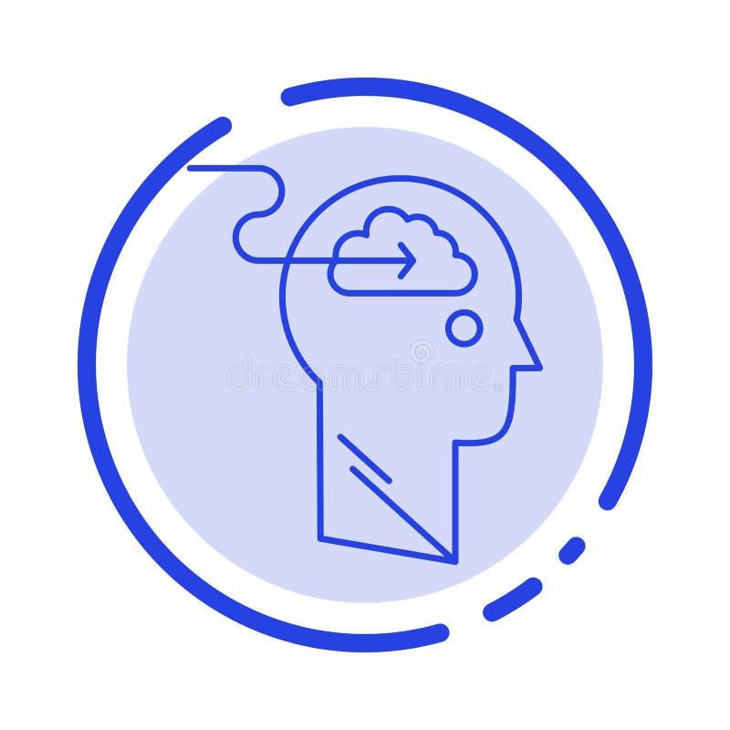De wolk, Update, Download, uploadt, de Lijnpictogram van de Gebruikers Blauw Gestippelde Lijn stock illustratie