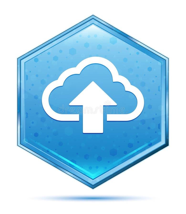 De wolk uploadt de blauwe hexagon knoop van het pictogramkristal royalty-vrije illustratie