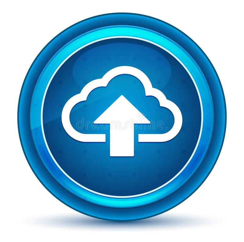 De wolk uploadt de blauwe ronde knoop van de pictogramoogappel royalty-vrije illustratie