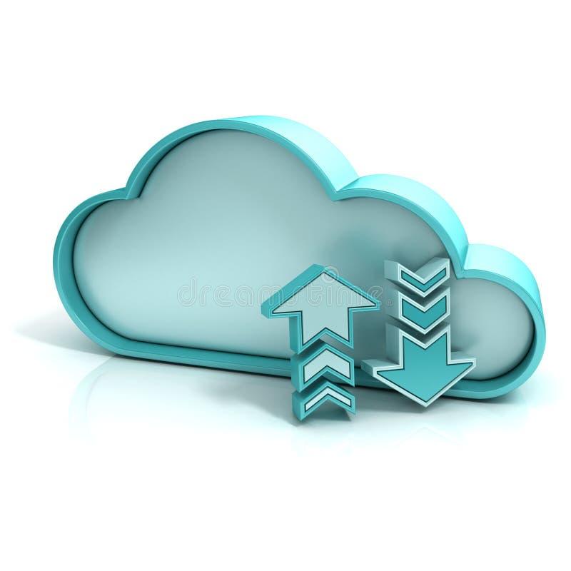 De wolk uploadt download royalty-vrije illustratie
